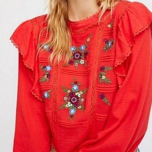 NWT Free People Embroidered Ruffle Amy Blouse